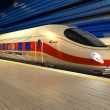 Modern high speed train at the railway station at night - Foto de Stock