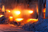 Very rare close view of working open hearth furnace — Stock Photo