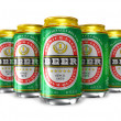 Set of beer cans — 图库照片
