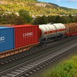 Stock Photo: Freight train passing by mountain range