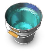 Metal bucket full of clear water — Stock Photo