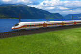 High speed train passing by the mountains and flords — Stock Photo