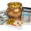 Financial concept: pot of gold, calculator and dollars - Stock Photo