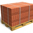 Stacked bricks on wooden shipping pallet - Stock Photo