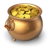 Pot of golden coins — 图库照片
