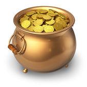 Pote de moedas de ouro — Foto Stock