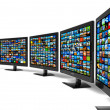 Row of widescreen HD displays wtih multiple images — Stock Photo #6432324