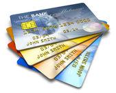 Jeu de cartes de crédit de couleur — Photo