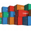 Stacked color cargo containers — Stock Photo