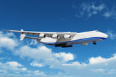 Big freight airiner in the bue sky with clouds — Stock Photo