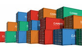 Stacked color cargo containers — Foto de Stock