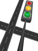 Motorway and traffic light — Stock Vector