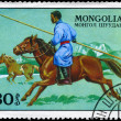Stock Photo: MONGOLI- CIRC1977 Hunter on horseback