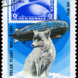 MONGOLIA - CIRCA 1981 Graf Zeppelin and Fox — Stock Photo