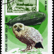 MONGOLIA - CIRCA 1981 Graf Zeppelin and Owl — Stock Photo