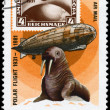 MONGOLIA - CIRCA 1981 Graf Zeppelin and Walrus - Stock Photo
