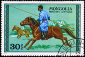 MONGOLIA - CIRCA 1977 Hunter on horseback — Stock Photo