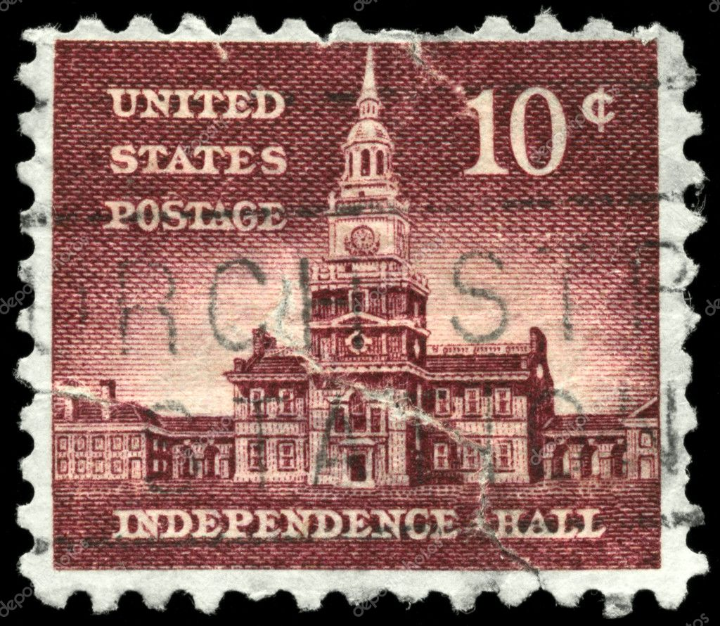 USA - CIRCA 1956: A Stamp printed in USA shows the Independence Hall, circa 1956 — Stock Photo #6266309
