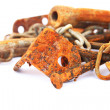Rusty nails,chain,nuts — Stock Photo