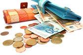 Money in wallets — Stock Photo