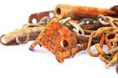 生锈的钉子、 链、 坚果 — 图库照片