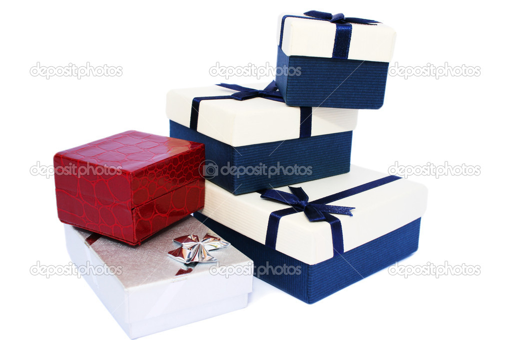Present boxes isolated on white background.  Stock Photo #6201531