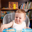Little boy investigating pasta — Stock Photo