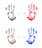 Four handprint background — Stock Photo