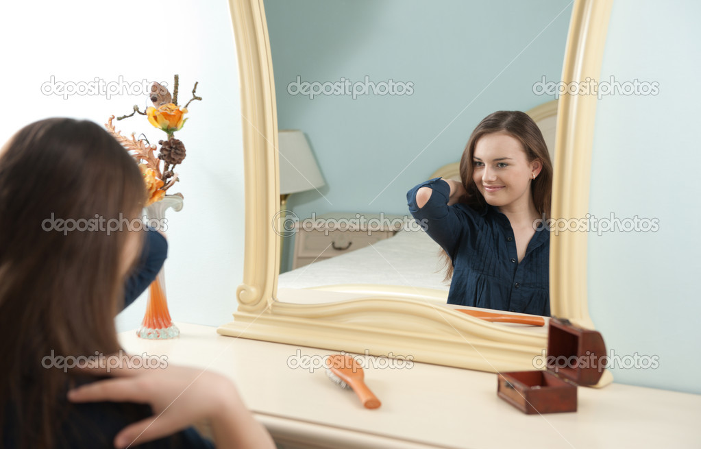 Young girl in front of mirror stock photo 169 petrograd99 6018997