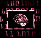 Brain and binary code — Stock Photo