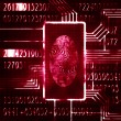 Stock Photo: Fingerprint and code