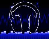 Headphones in the smoke — Stock Photo