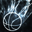 Basketball in the smoke — Stock Photo