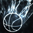 Basketball in the smoke - Stock Photo