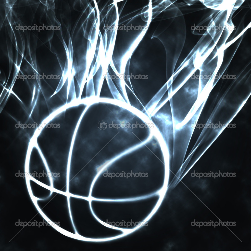 Burning basket ball in the smoke illustration — Stock Photo #5877773