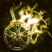 Burning wheel — Stock Photo