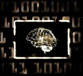 Brain and binary code — Stock Photo