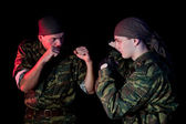 Two soldiers fighting — Stock Photo