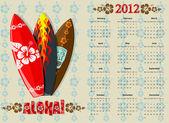 Vector Aloha calendar 2012 with surf boards — Stock Vector