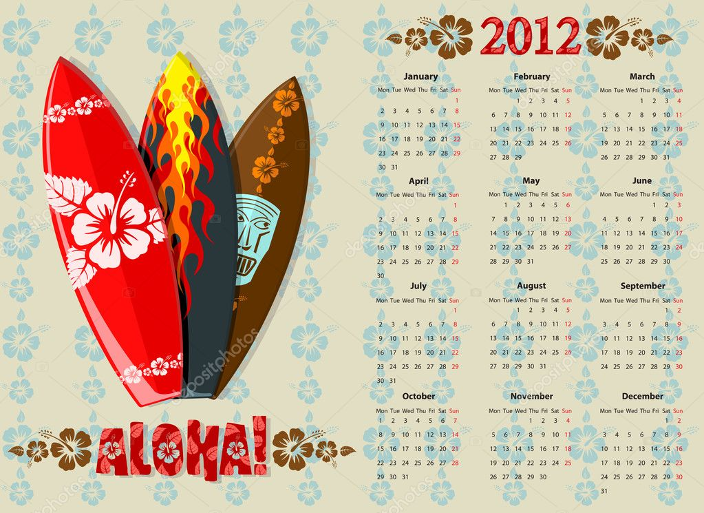 European Aloha vector calendar 2012 with surf boards, starting from Mondays — Stock Vector #5821232
