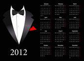 Vector European calendar 2012 with elegant suit — Stock Vector
