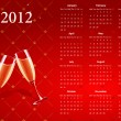 Vector red calendar 2012 with champagne - Stock Vector