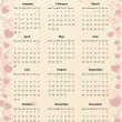 American Vector pink calendar 2012 with hearts - Stock Vector