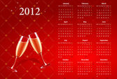 Vector red calendar 2012 with champagne — Stock Vector