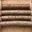 Wooden fence with rope - Stock Photo