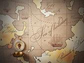 Harita üzerinde pusula — Stok fotoğraf