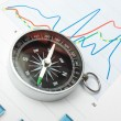 Stock Photo: Compass and paper work