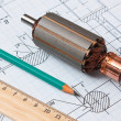 Rotor of electromotor and  drawing — Stock Photo