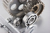 Gears and bearings with calipers — Stock Photo