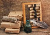 ábaco y paquetería de pila — Foto de Stock